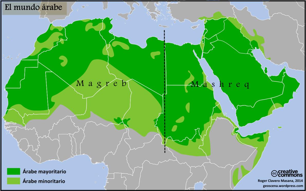 El mundo árabe, está conformado por los estados miembros de la Liga Árabe: Algeria, Egipto, Sudán, Arabia Saudita, Marruecos, Libia, Sudán, Yemen, Siria, Djibouti, Irak, Somalia, Tunisia, Emiratos Árabes Unidos, Islas Comoras, Jordania, Líbano, Palestina, Omán, Kuwait, Mauritania, Qatar y Bahrein. Con un total de 200 millones de arabo parlantes.